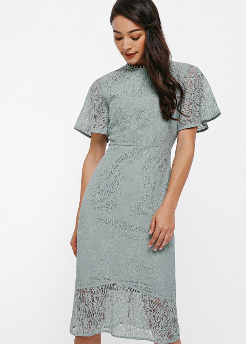 Marlette Lace Panel Midi Dress