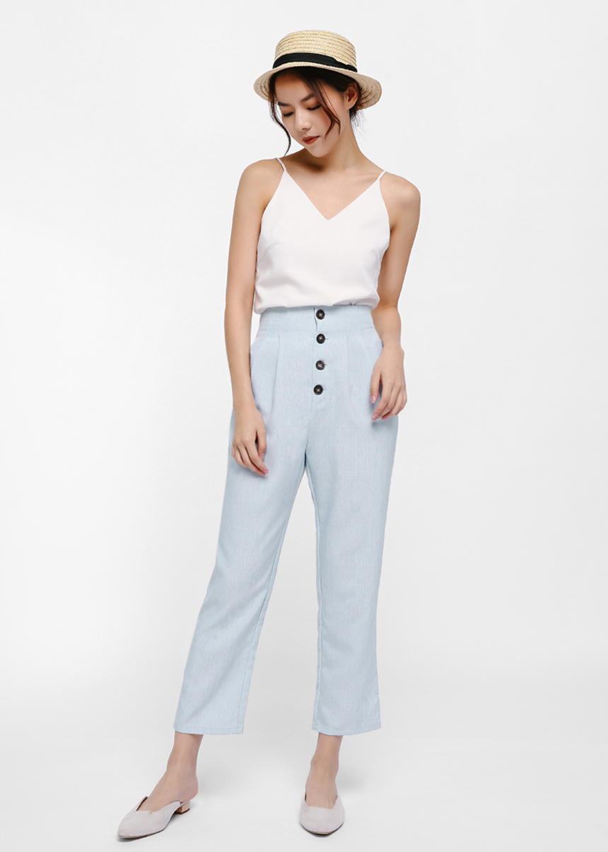 Maika Button Front Cropped Pants