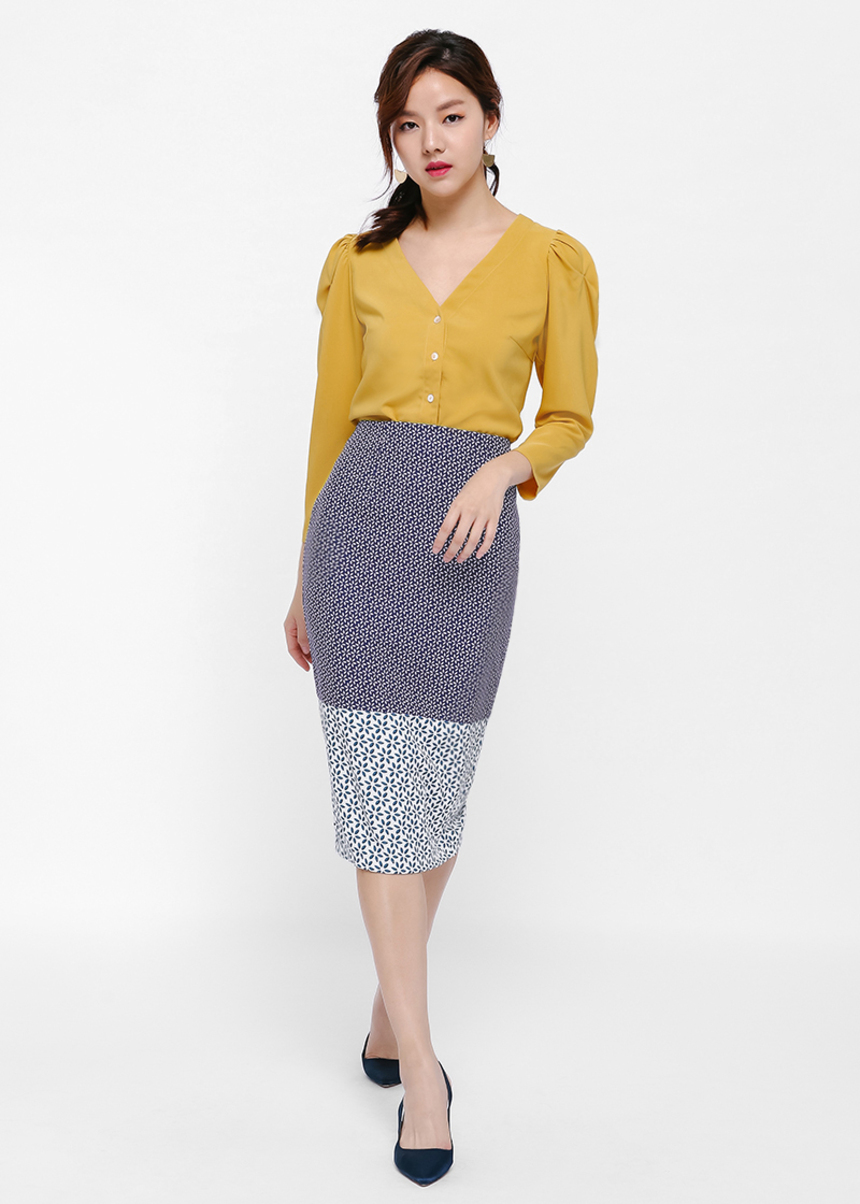 Chieko Printed Panelled Pencil Skirt