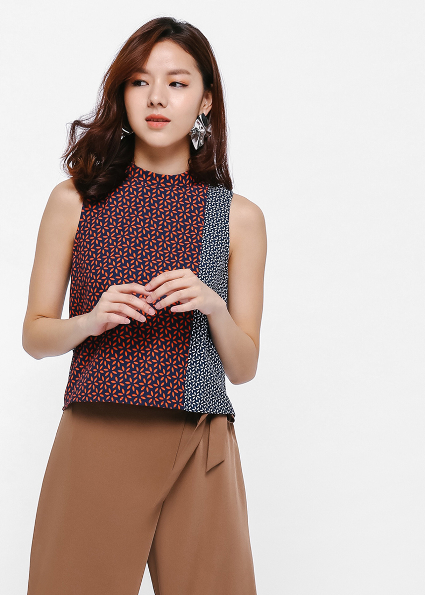 Chieko Printed Mock Neck Top