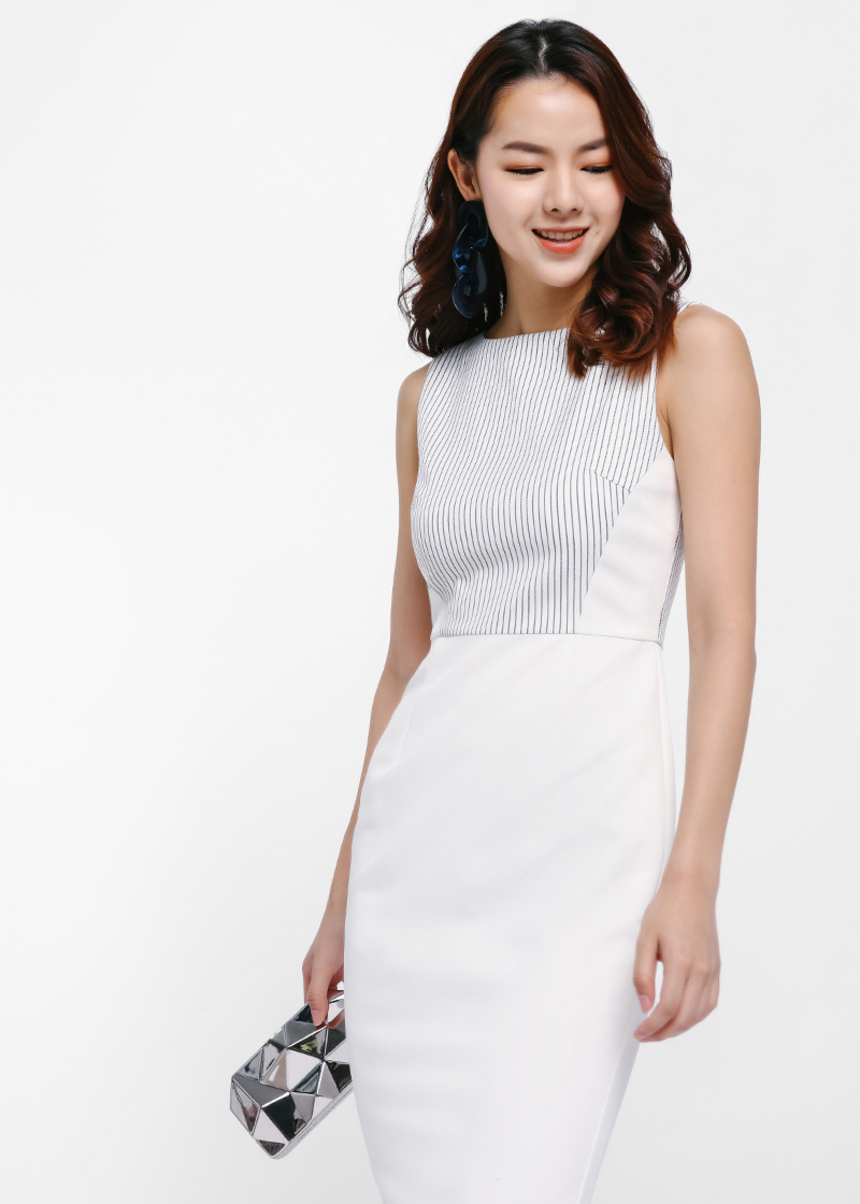 Anastasi Pinstripe Panel Pencil Dress