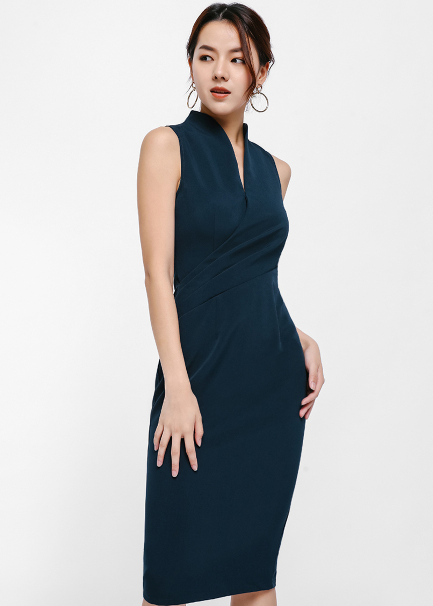 Mykela V-Neck Mandarin Collar Pencil Dress