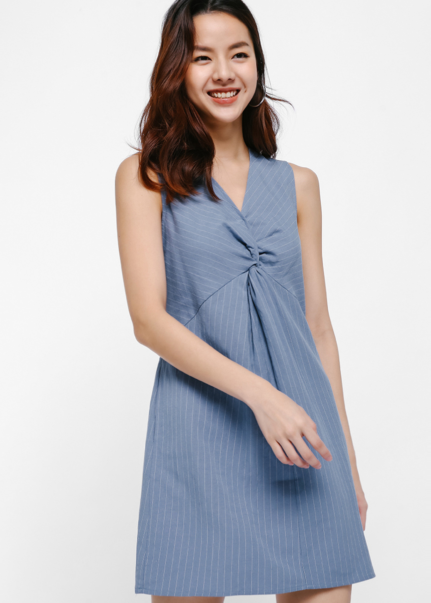 Dena Twist Front Pinstripe Dress