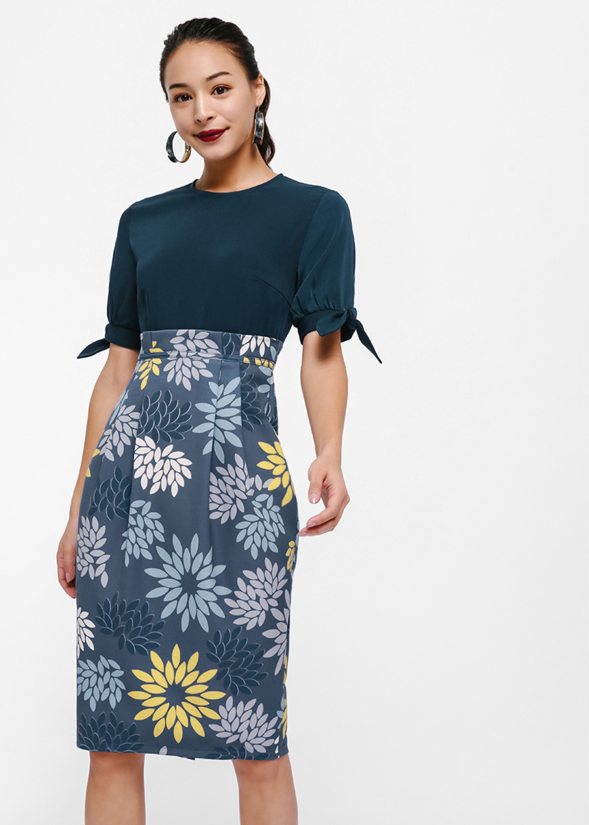 Mirika Mosaic Print Pencil Dress