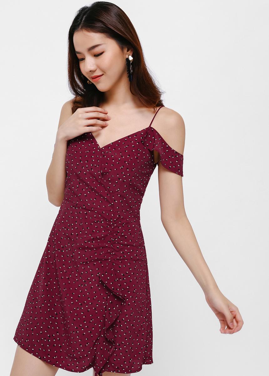 Emile Printed Ruffle Off-Shoulder Dress
