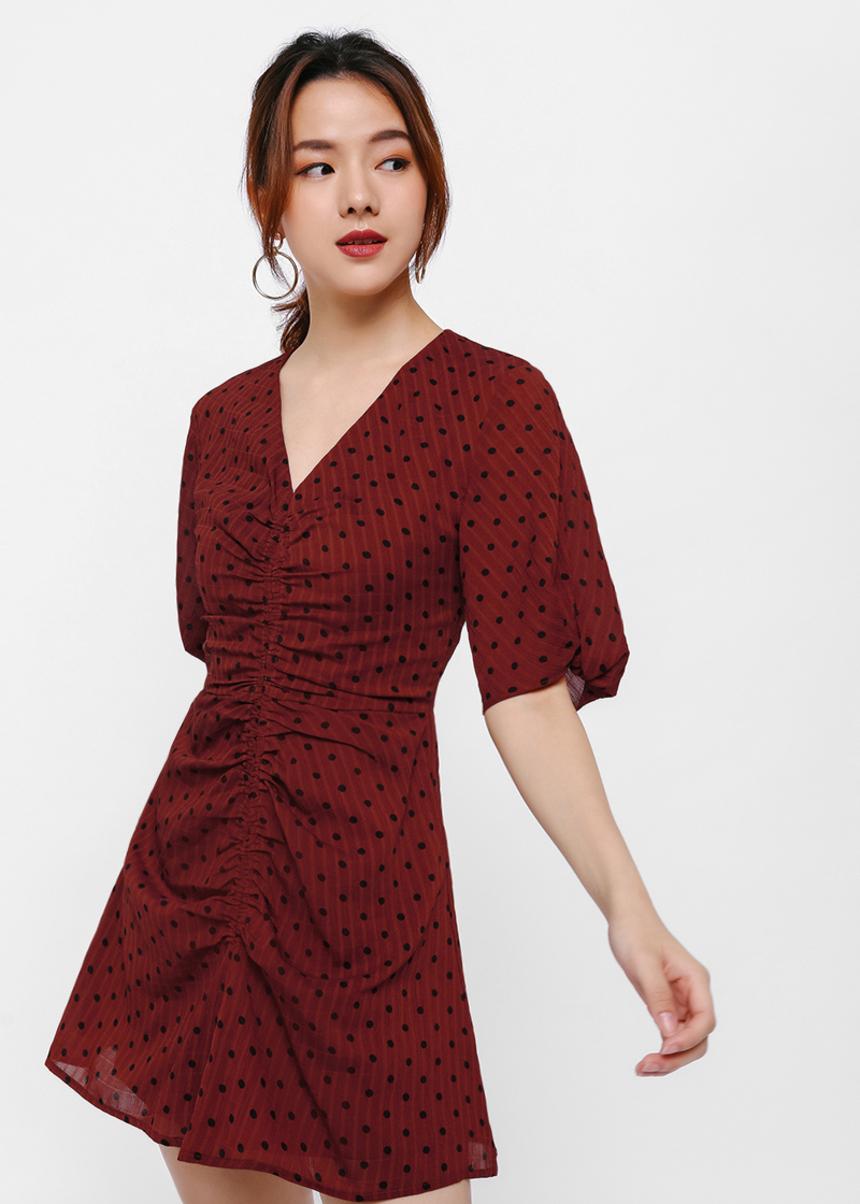 Karan Polka Dot Print Mini Dress