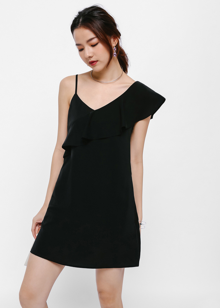 Ruskin Asymmetrical Ruffle Shoulder Mini Dress