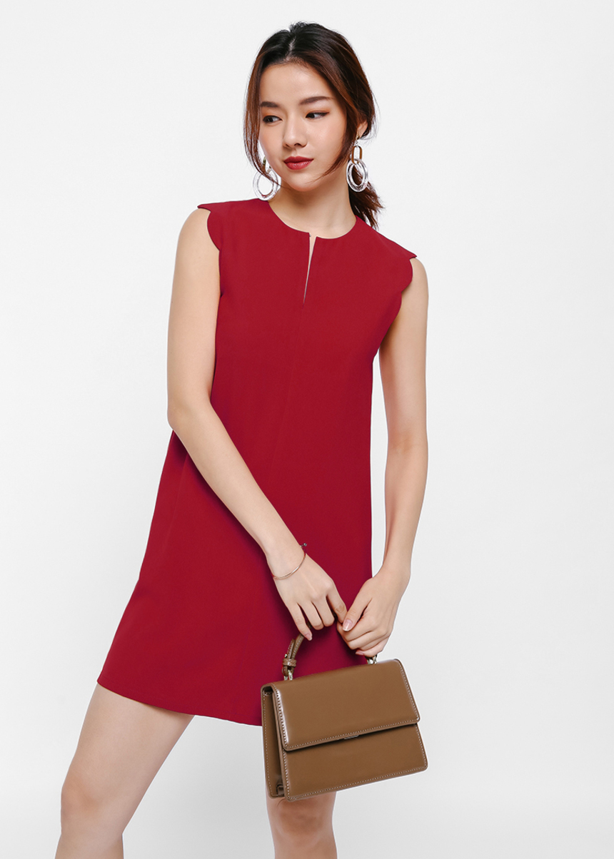 Sarte Scallop Hem Shift Dress