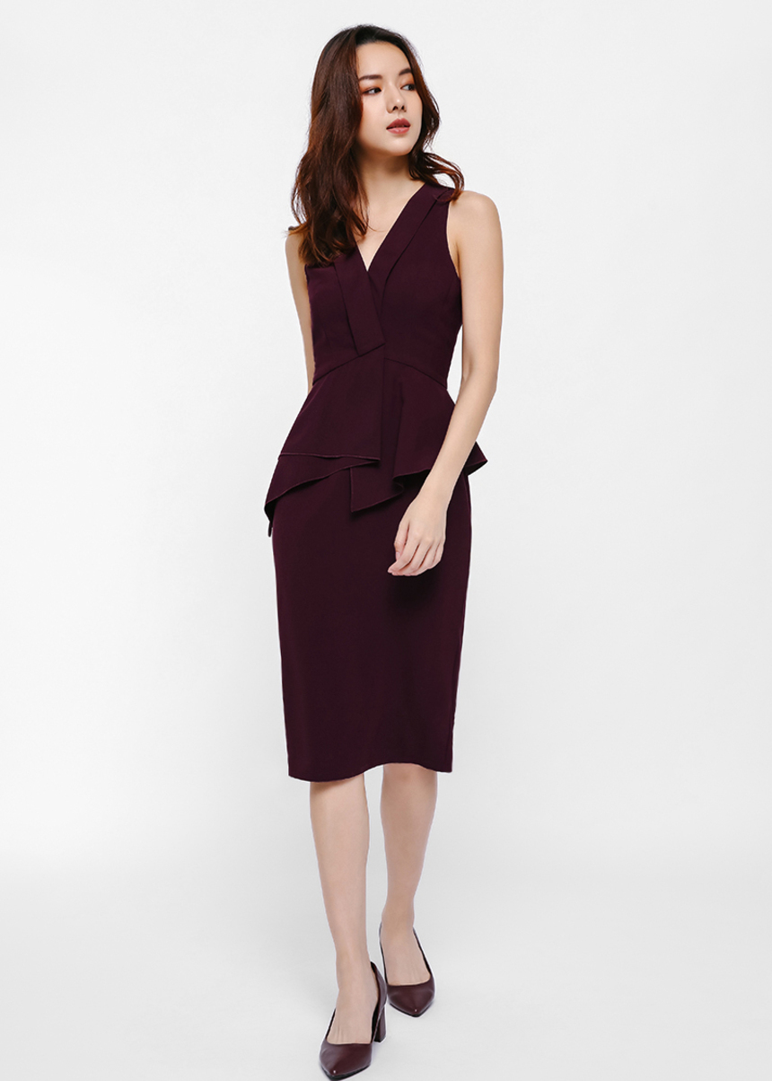 Trinx Asymmetrial Peplum Midi Dress