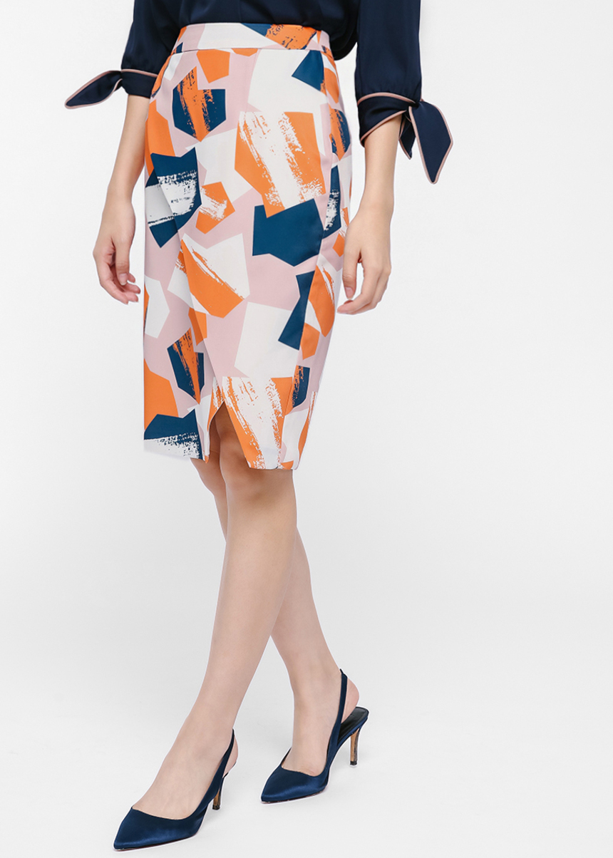 Trivo Printed Pencil Skirt