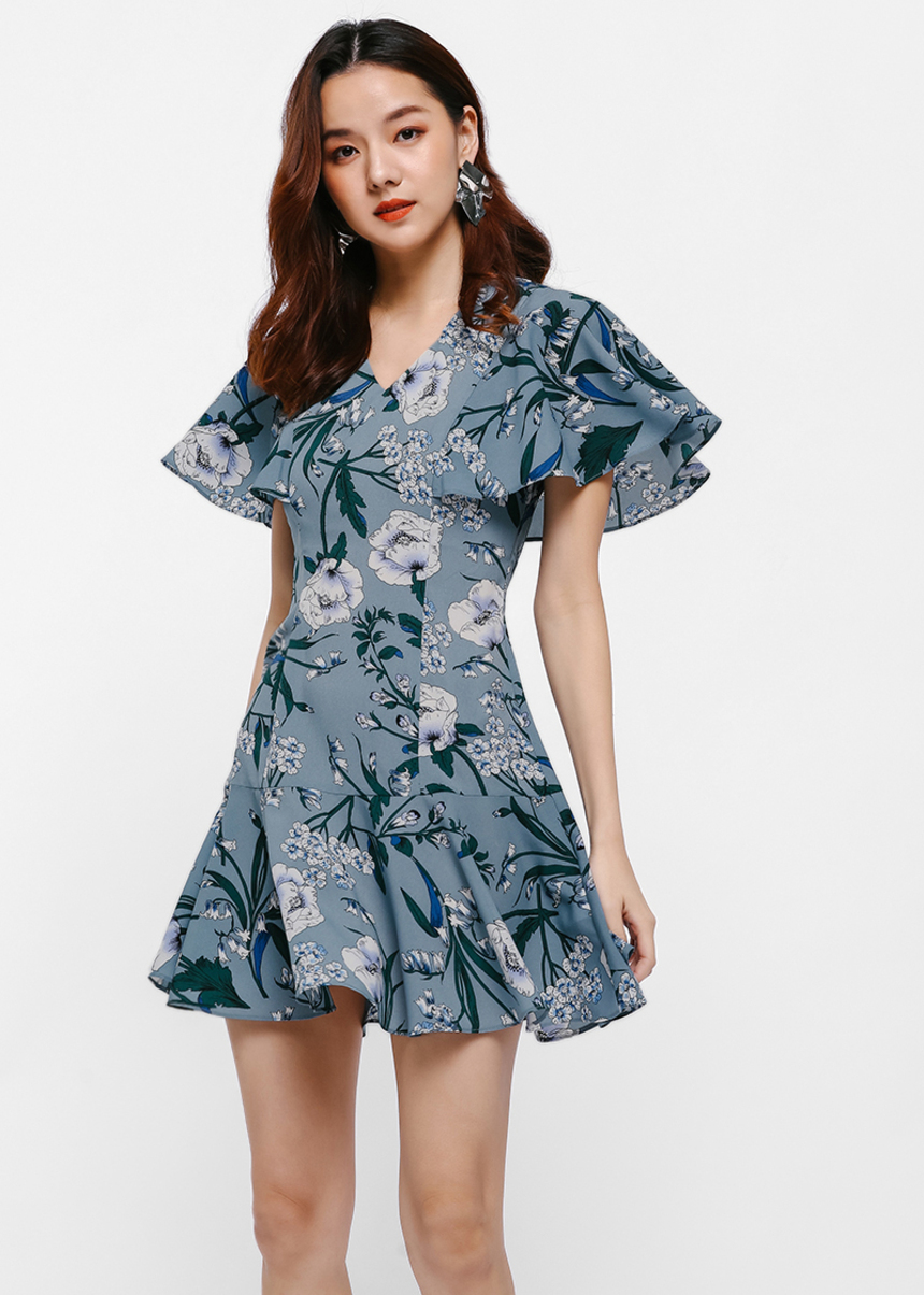 Ashka Printed Cape Sleeve Dress