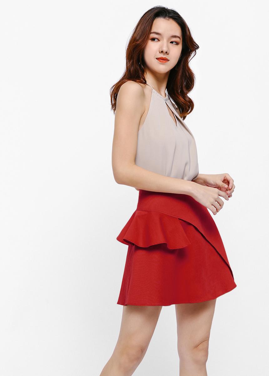 Loyen Asymmetrical Ruffle Miniskirt