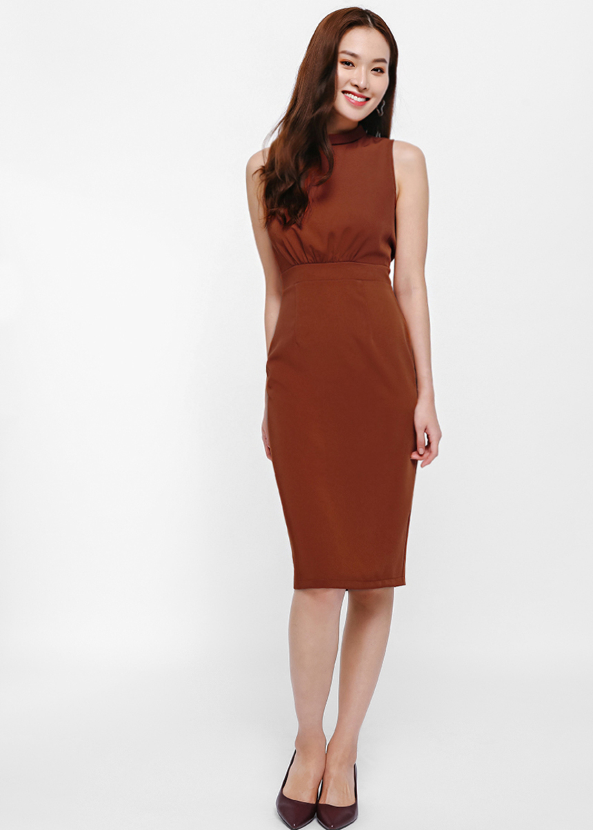 Veren Gathered Waist Pencil Dress
