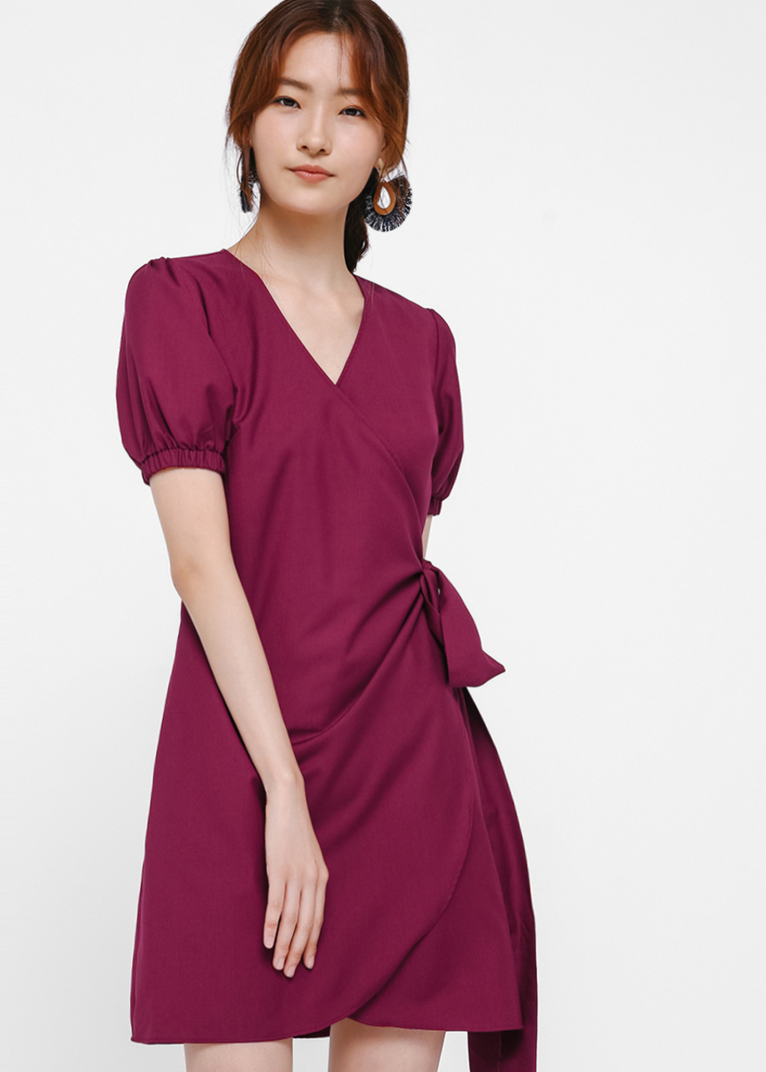 Eldora Puff Sleeve Wrap Dress