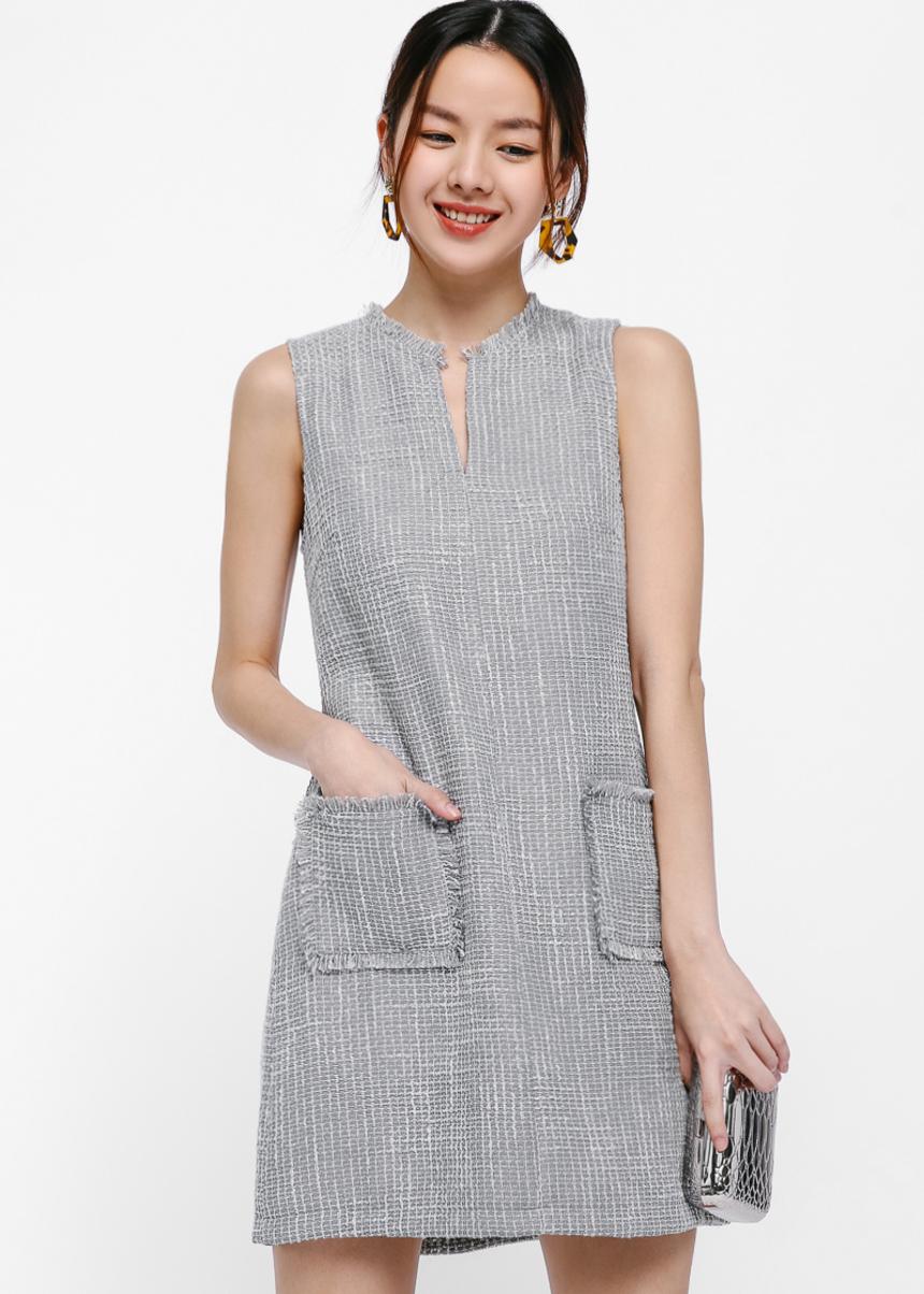 Ena Tweed Notch Neck Shift Dress