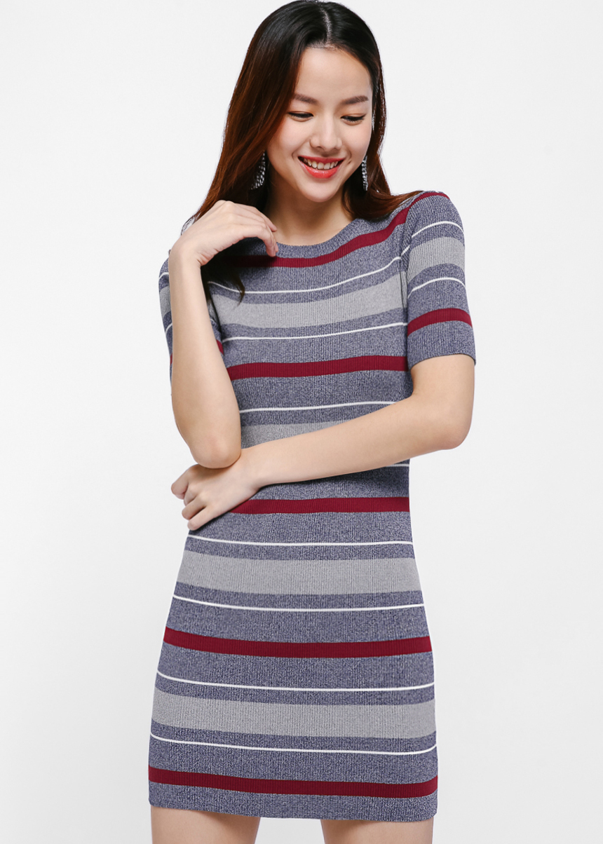 Waneta Stripe Bodycon Mini Dress