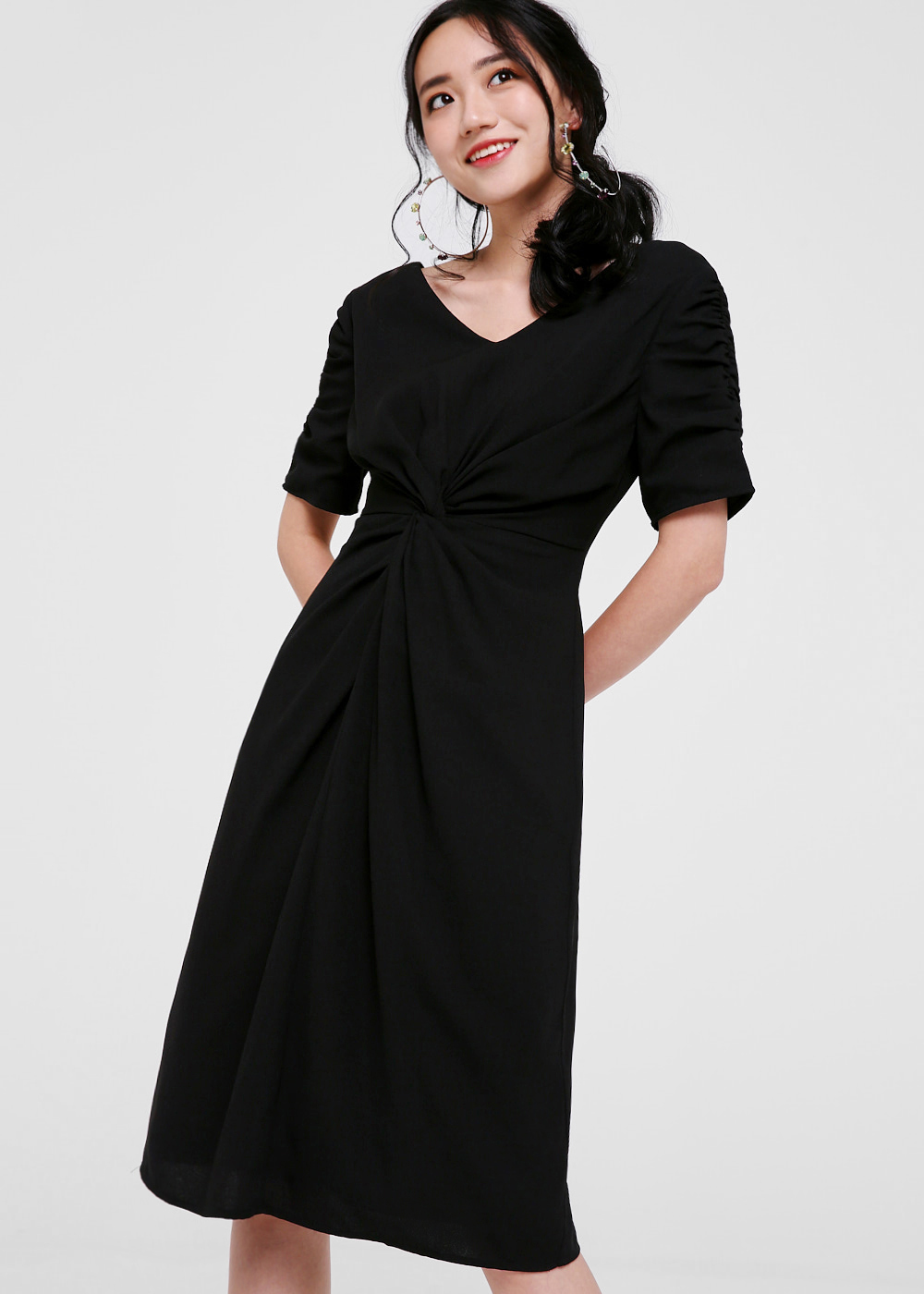 Sinclair Twist-front Midi Dress