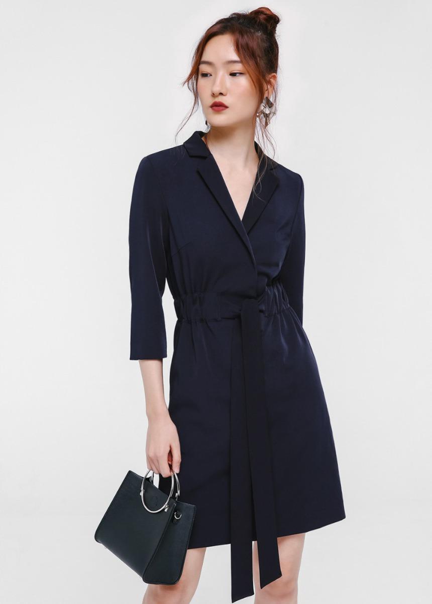 Uriel Tuxedo Wrap Dress