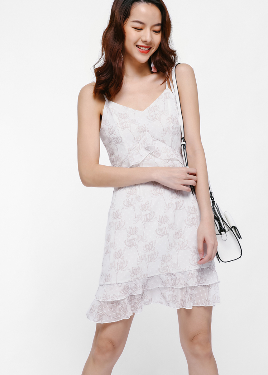 Hora Printed Ruffle Hem Dress