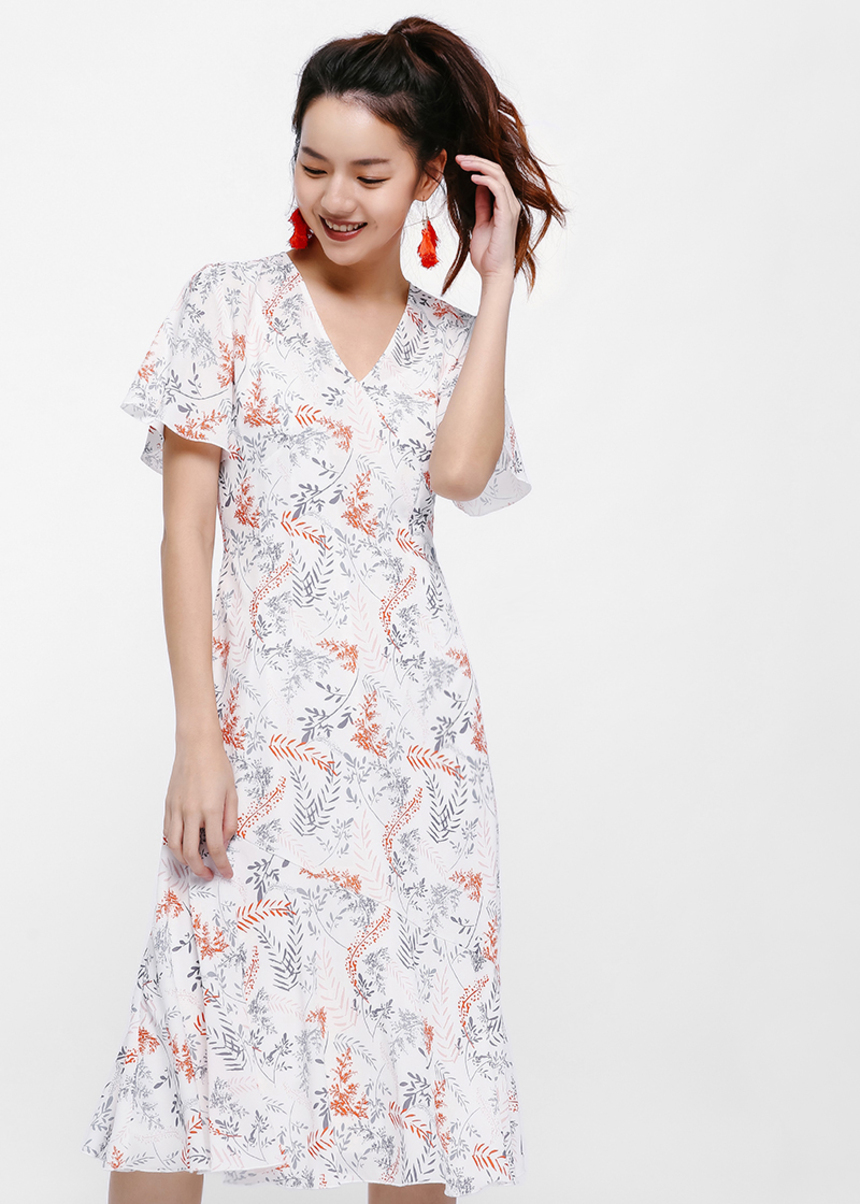 Eloda Printed Floral Midi Dress