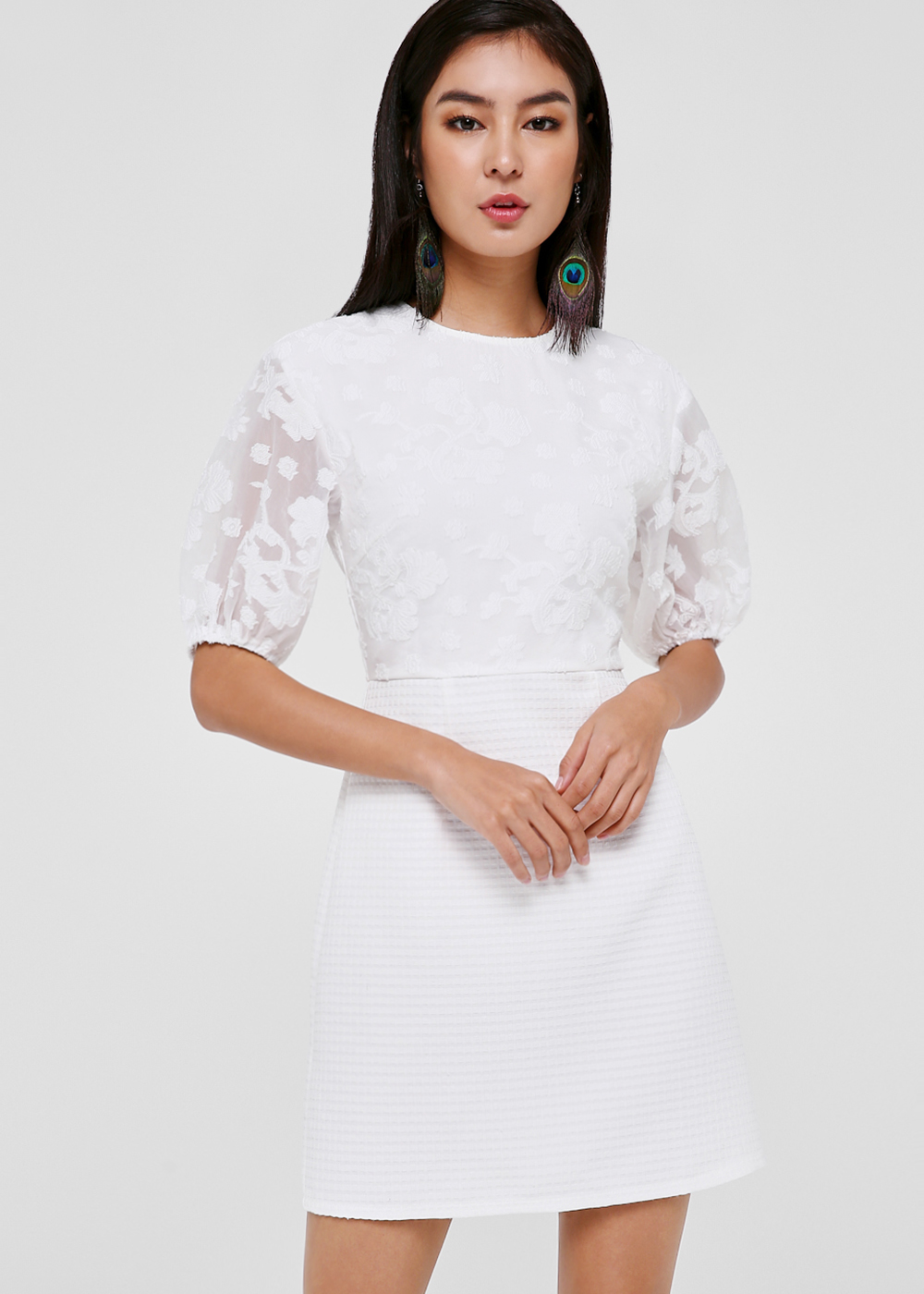 Morliyana Puff Sleeve Jacquard Dress