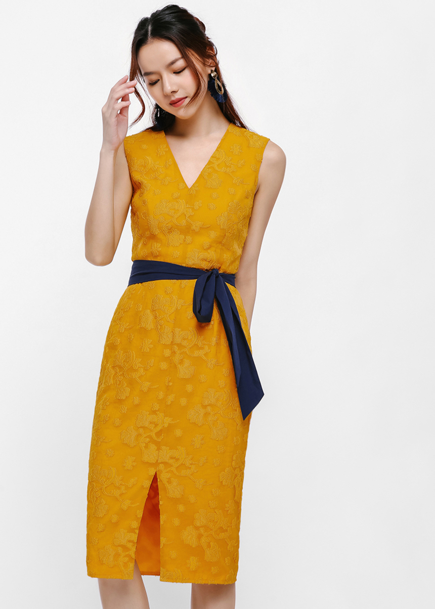 Corin Sash Belt Midi Dress