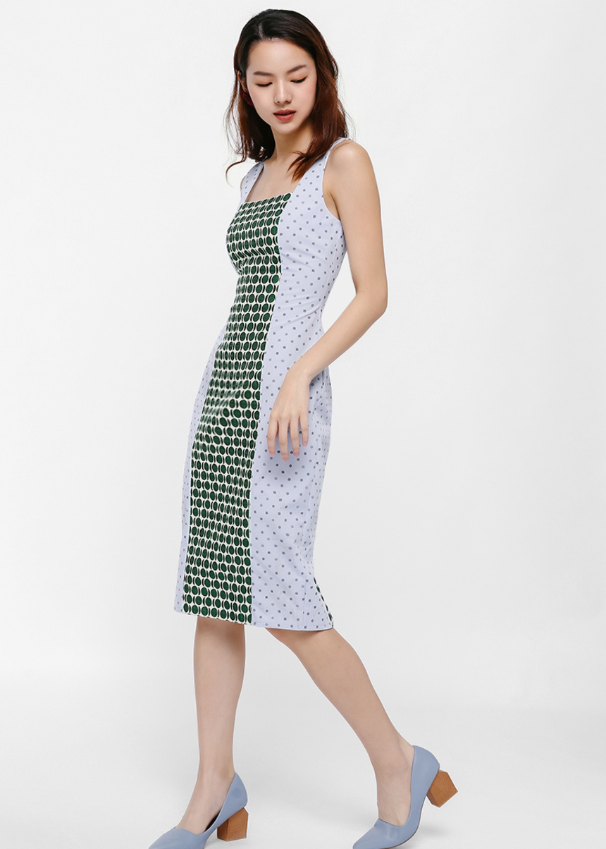 Nicolla Contrast Jacquard Midi Dress