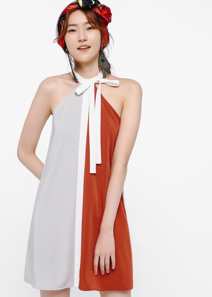 Kyoko Colourblock Tie Front Dress