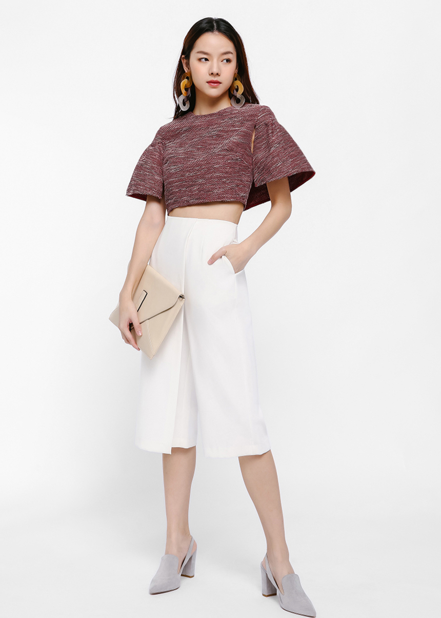 Frin Cape Sleeve Crop Top