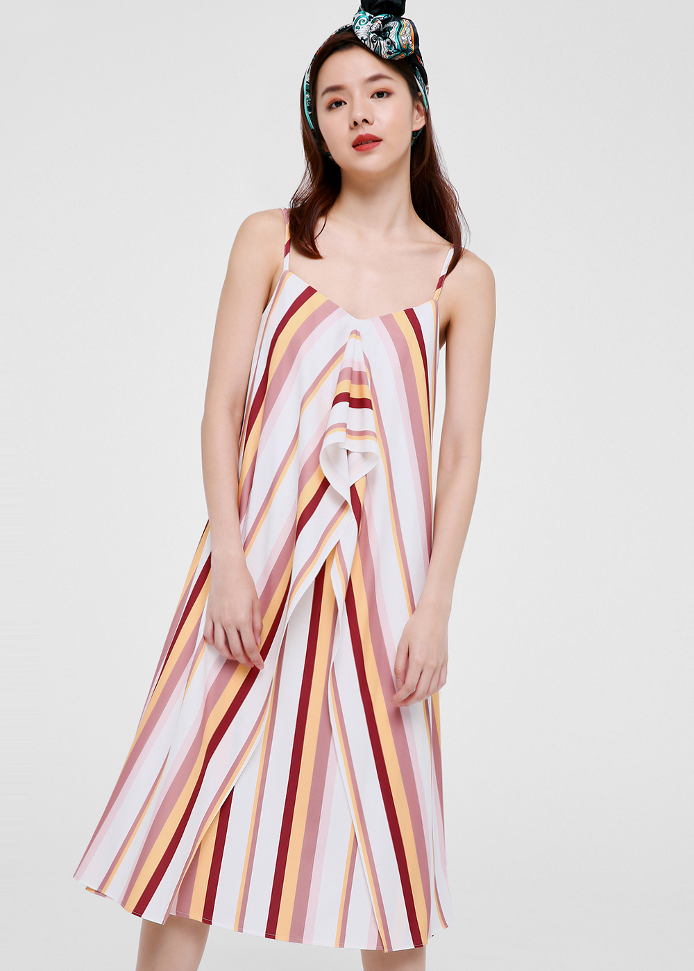 Laila Printed Cascade Midi Dress