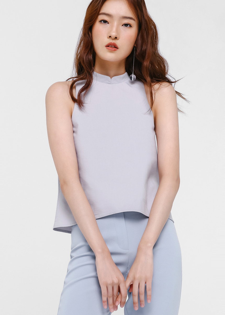 Kara Mandarin Collar Top