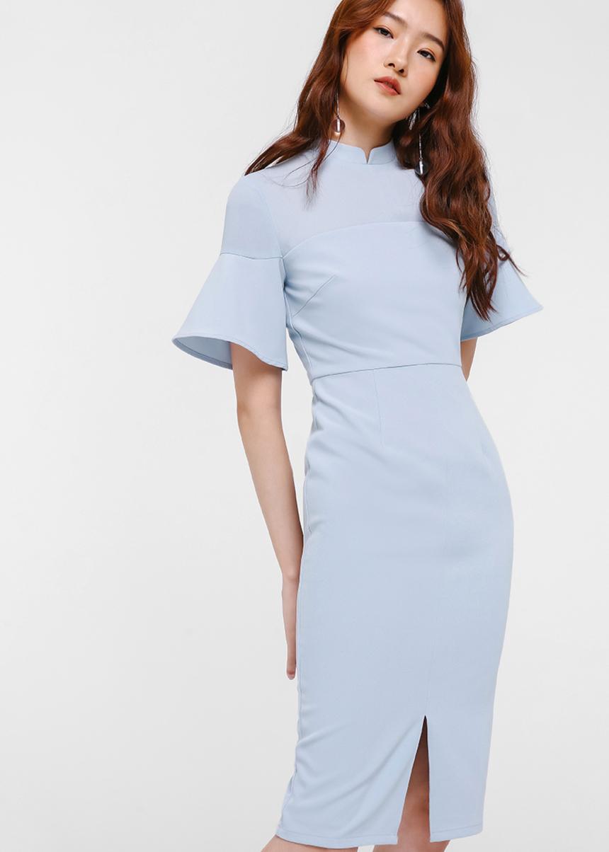 Adalia Mandarin Collar Midi Dress