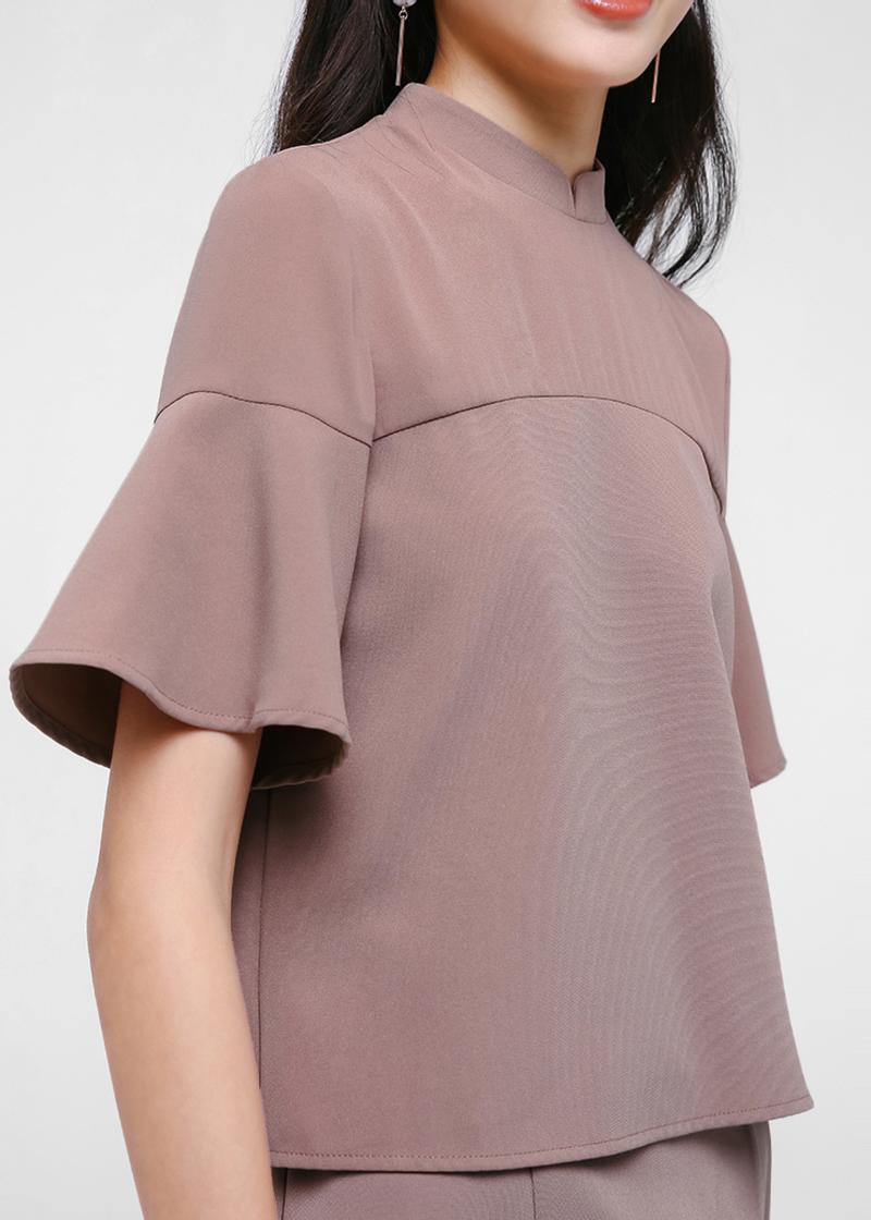 Adelaide Mandarin Collar Flare Sleeve Top