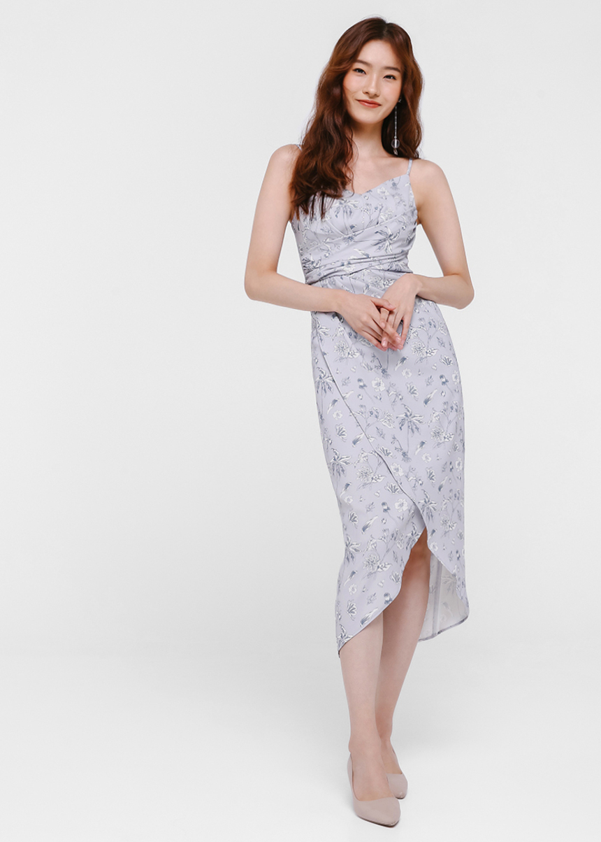 Fiora Floral Printed Foldover Dress