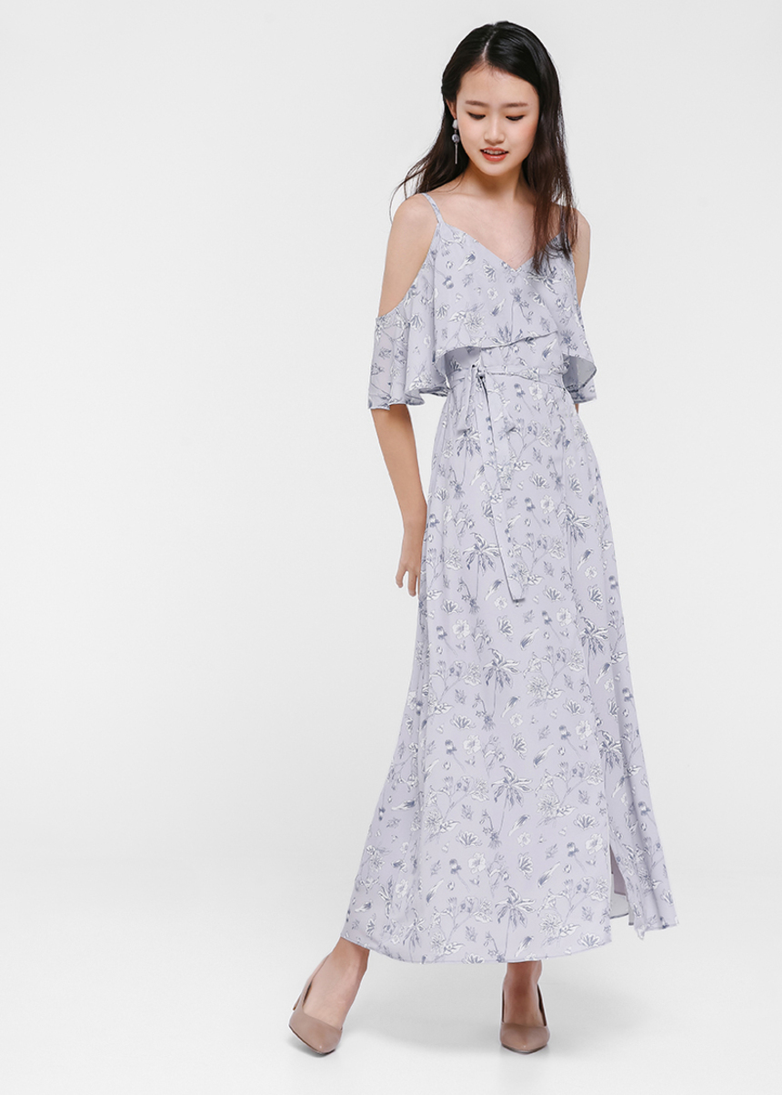 Fleura Floral Printed Off Shoulder Maxi Dress