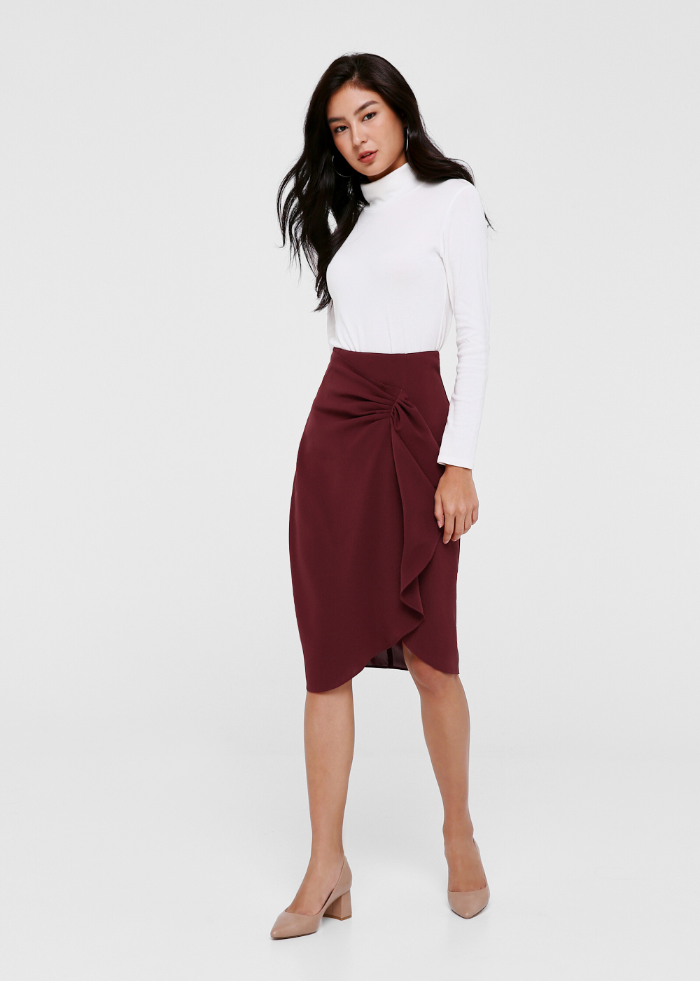 Suzan Cascade Midi Pencil Skirt