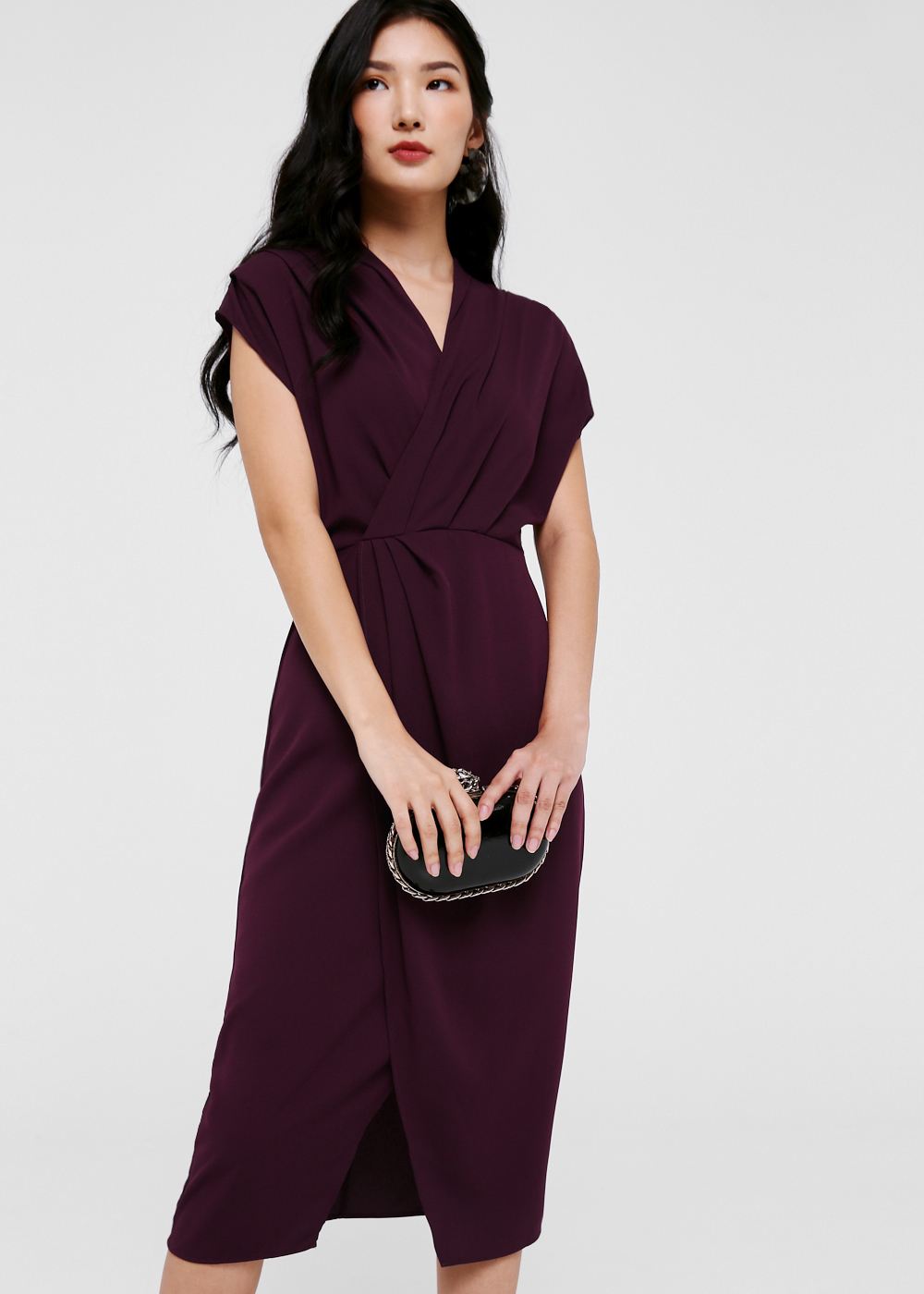 Chantelle Gathered Front Midi Dress