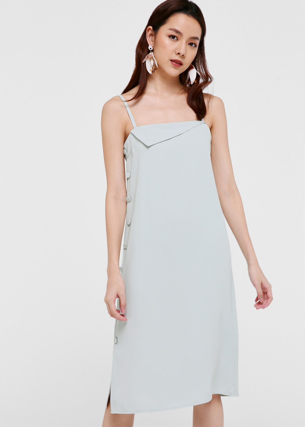 Francissca Foldover Midi Shift Dress