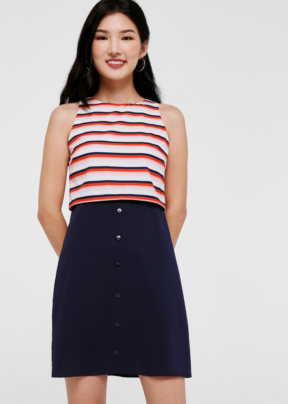 Braylee Contrast A-line Dress in Candy Stripe