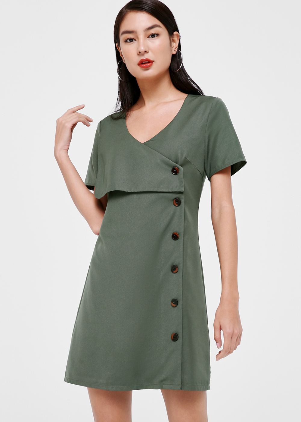 Doris Foldover Button Down Dress