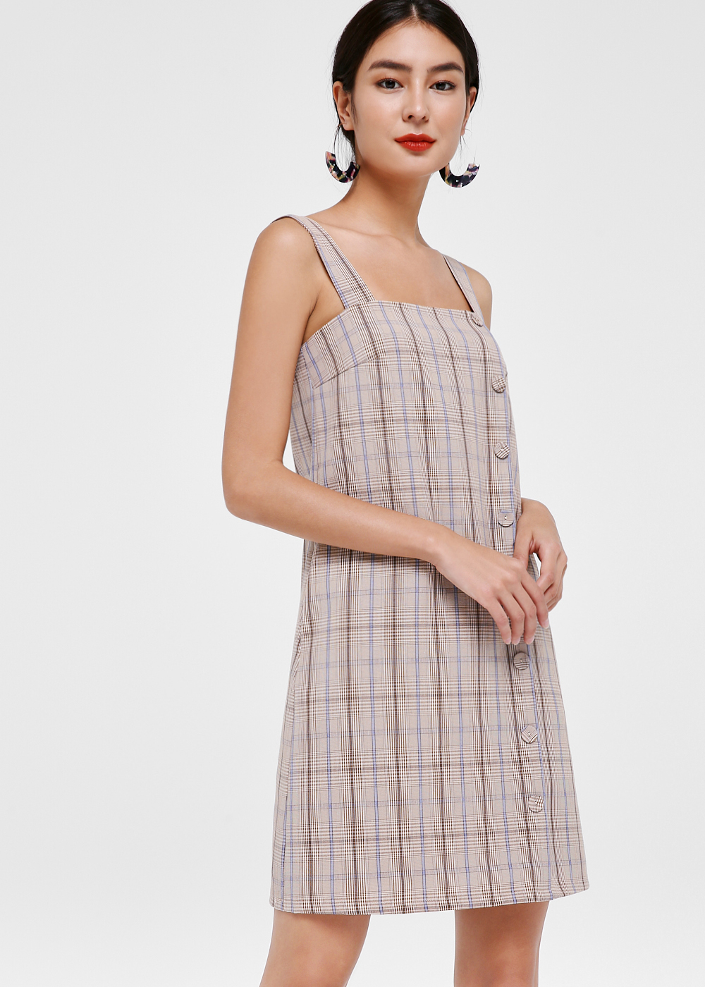 Alleen Button Front A-line Dress in Tiramisu Squares