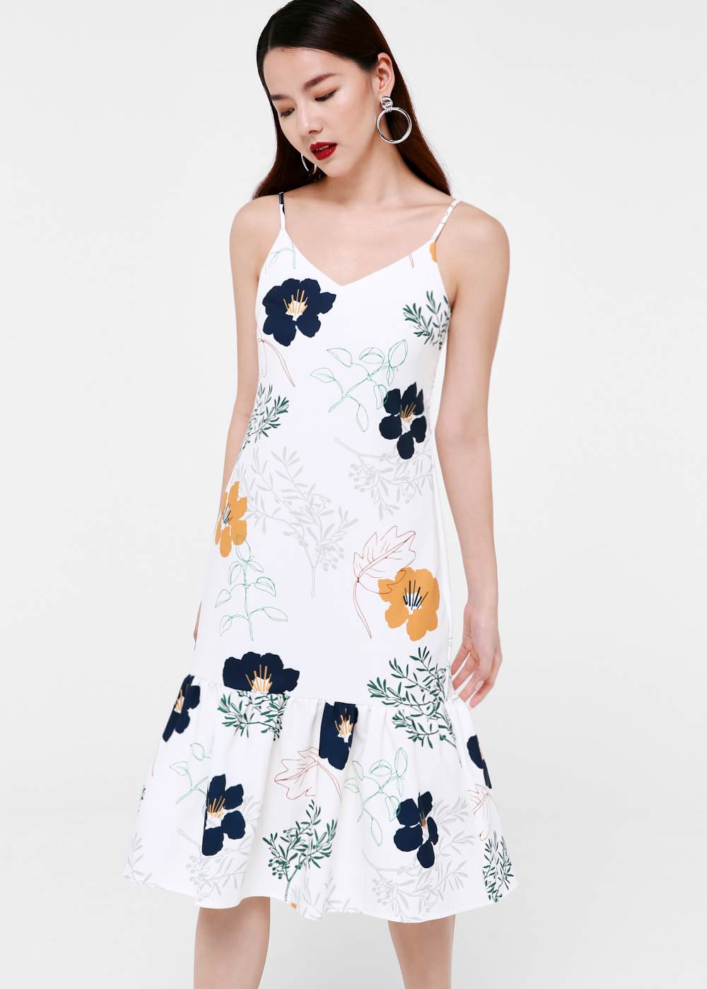 Misty Ruffle Hem Midi Dress in Sakura Meadow