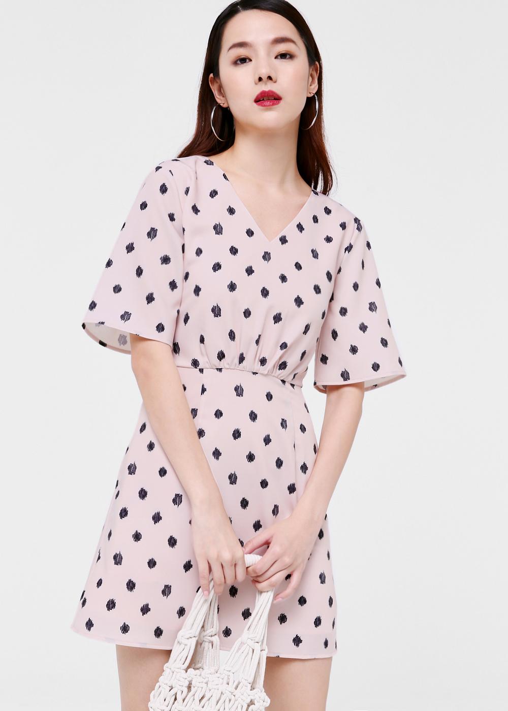 Felicity Tie Back Dress in Scribbled Spots