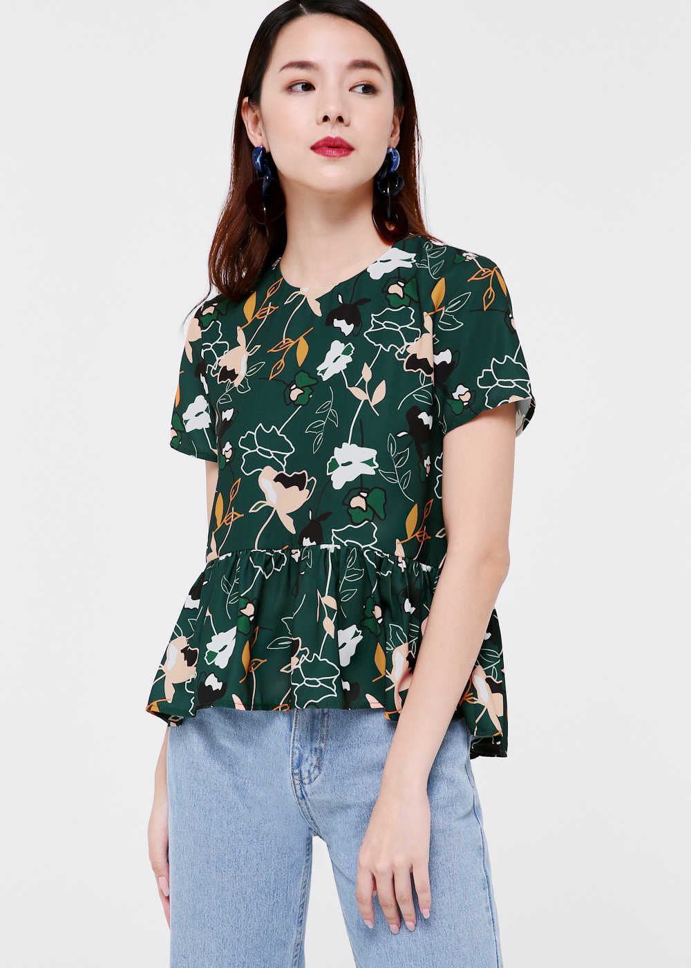 Leah Baby Doll Top in Forest Whimsy