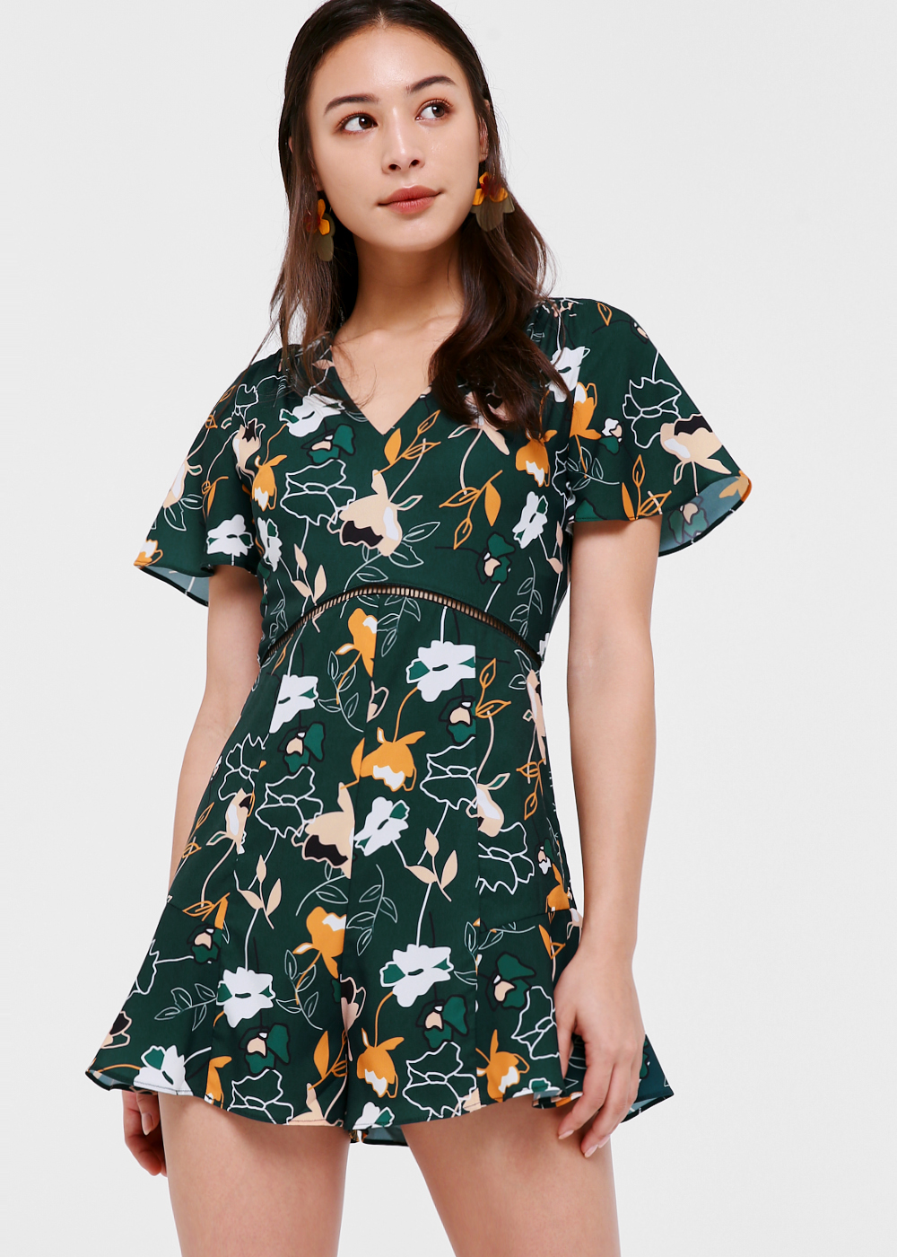 Effie Flare Hem Romper in Forest Whimsy