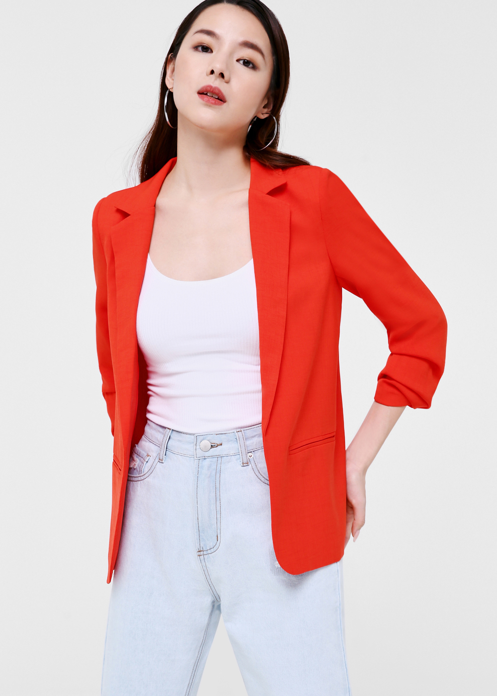 Pia Ruched Sleeve Blazer