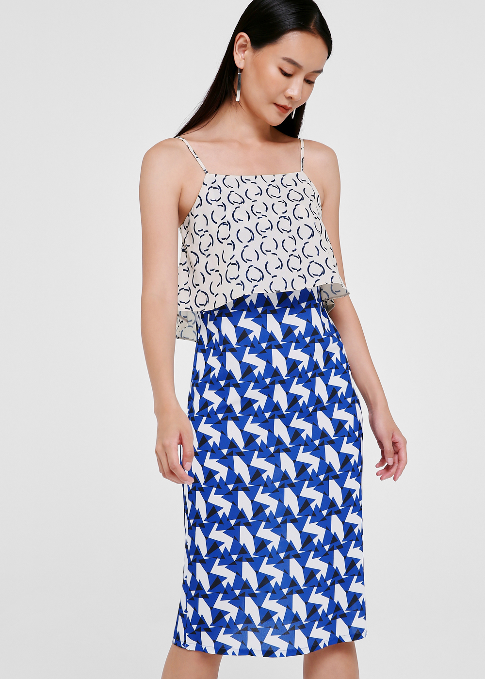 Ivy Layered Midi Dress in Electric Dream