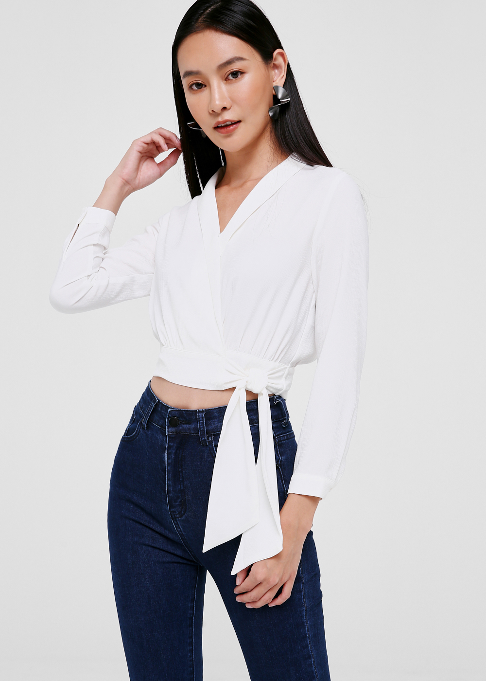 Quinta Cuffed Wrap Top