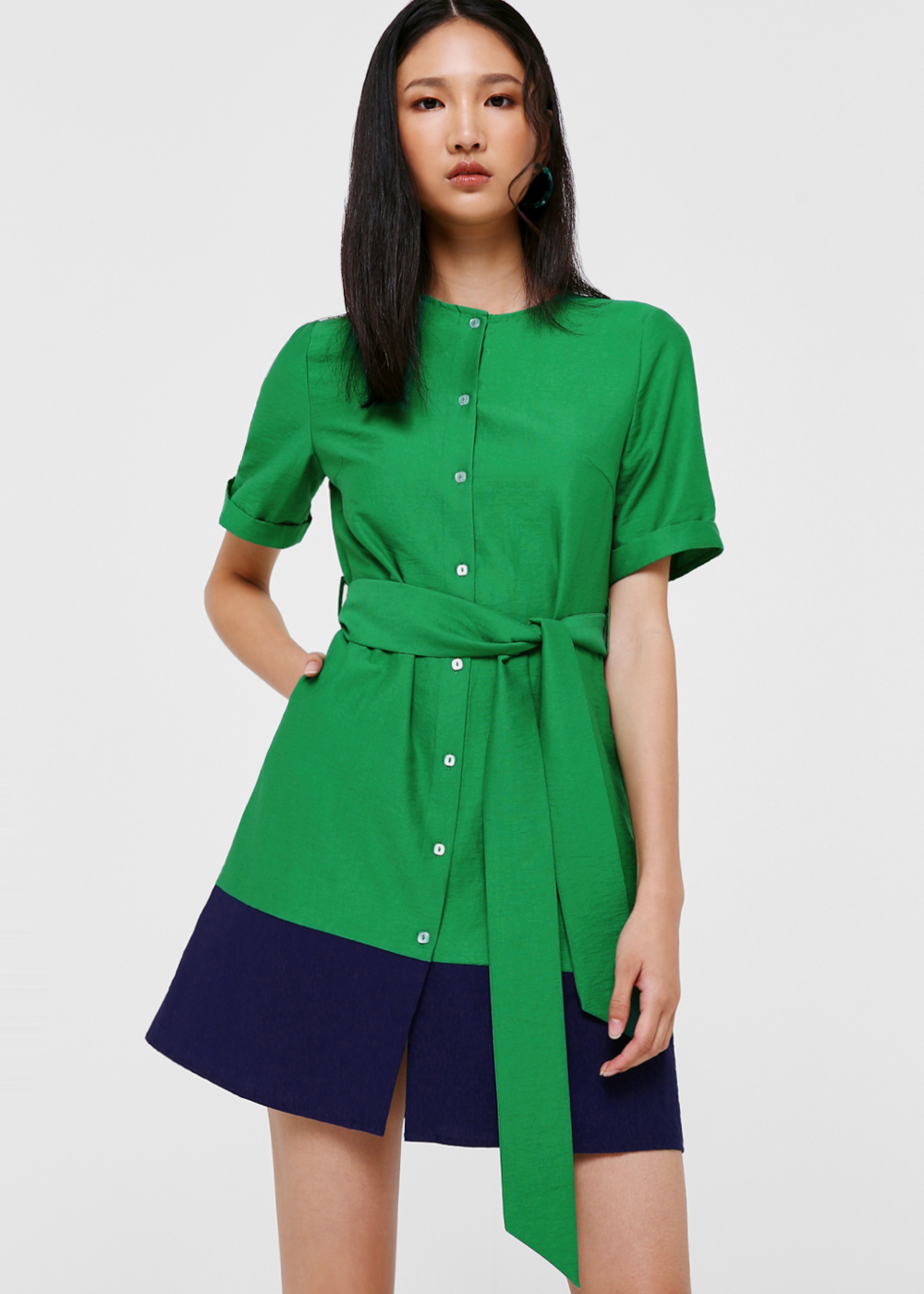 Oakleigh Contrast Panel Linen Dress