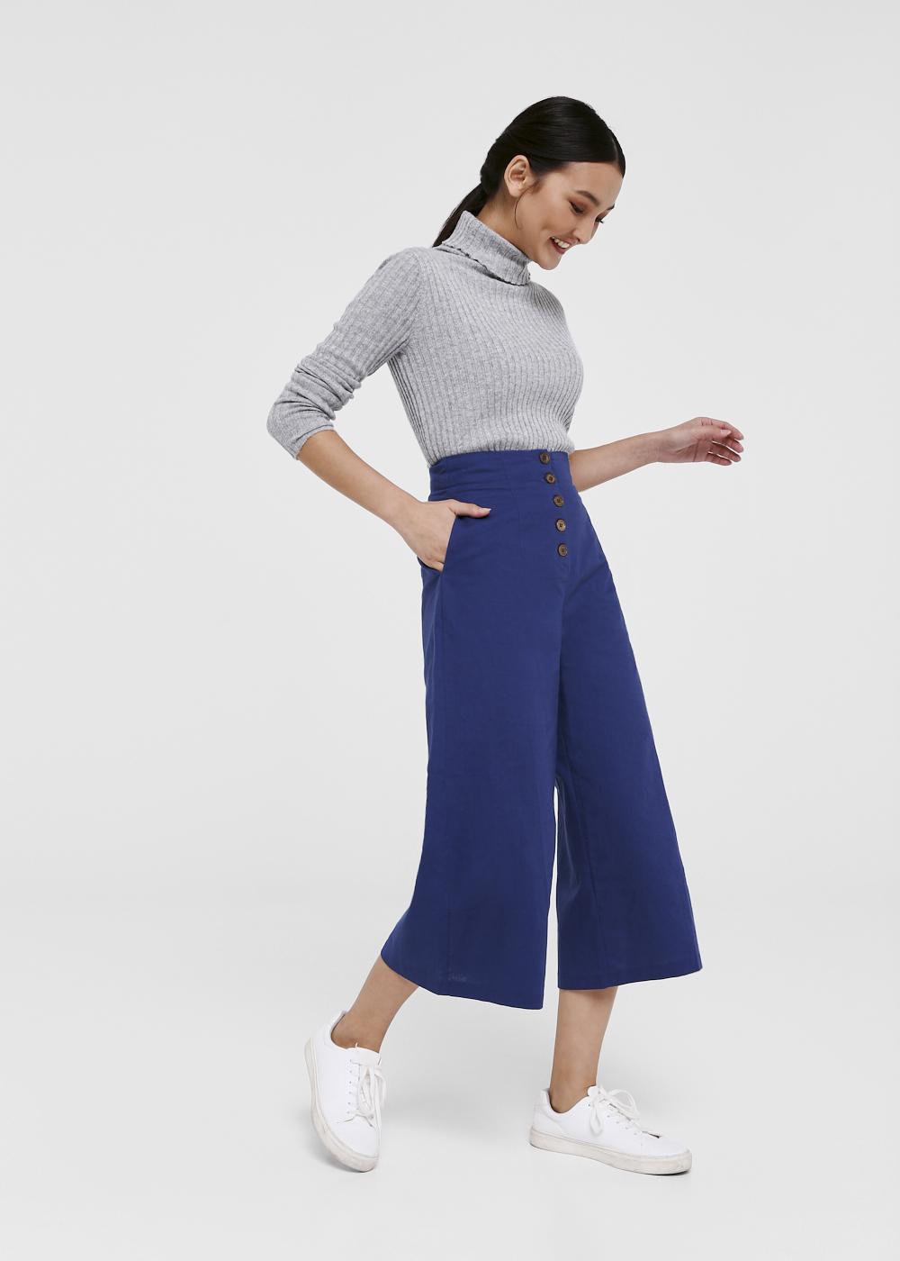 Starisha Button Front Wide Leg Culottes